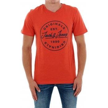 Jack & Jones Mens Jack & Jones New JORLANGMORE Designer Classic T Shirt Chilli