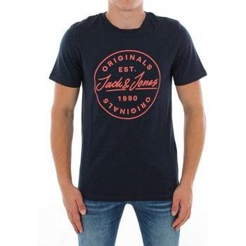 Jack & Jones Mens Jack & Jones New JORLANGMORE Designer Classic T Shirt Navy Blazer