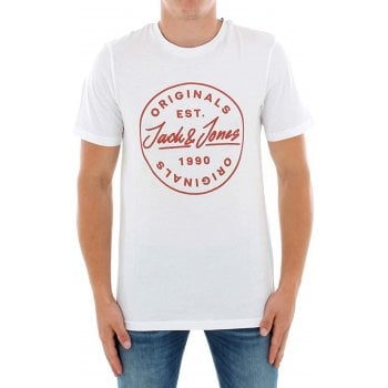 Jack & Jones Mens Jack & Jones New JORLANGMORE Designer Classic T Shirt White