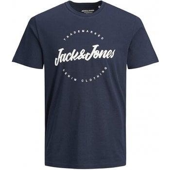 Jack & Jones Mens Jack & Jones New Raffy Designer Classic T Shirt Navy Blazer