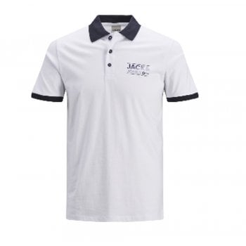 Jack & Jones Mens Jack & Jones New Sead Designer Classic Polo T Shirt China White