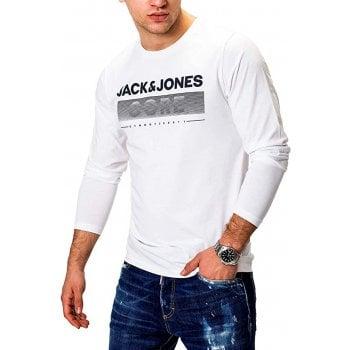 Jack & Jones Mens Jack & Jones New Town Designer Classic Long Sleeve T Shirt White