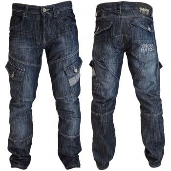 Crosshatch Mens Jeans Crosshatch New CARGO Combat Dark Washed Straight Leg Jeans