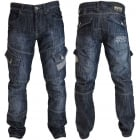 Mens Jeans Crosshatch New CARGO Combat Dark Washed Straight Leg Jeans