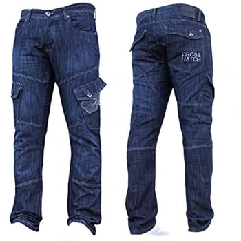 Crosshatch Mens Jeans Crosshatch New CARGO Combat StoneWashed Straight Leg Jeans
