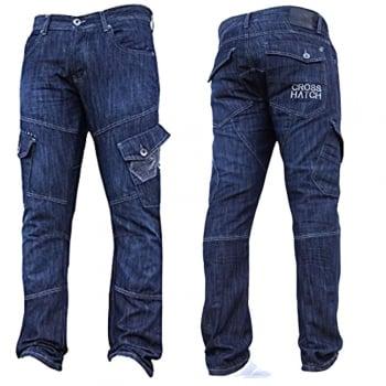 Crosshatch Mens Jeans Crosshatch New CARGO Combat StoneWashed Straight Leg Jeans