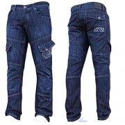 Mens Jeans Crosshatch New CARGO Combat StoneWashed Straight Leg Jeans