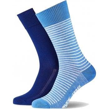 Levi's Mens Levis 2 Pack New Striped Branded 168SF Socks Blue Depths