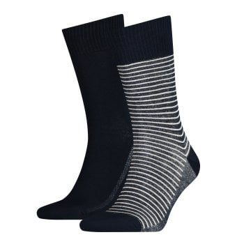 Levi's Mens Levis 2 Pack New Striped Branded 168SF Socks Mid Denim
