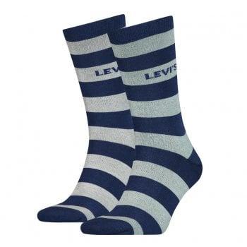Levi's Mens Levis 2 Pack New Striped Logo Socks Blue