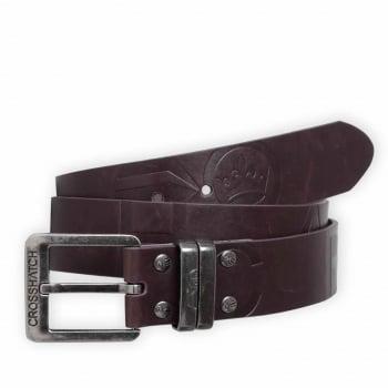 Crosshatch Mens New Belt Crosshatch Chucker Embossed Design PU Leather Look Brown