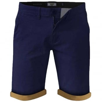 D555 Mens New D555 Roll Up Chino Summer Morgan Shorts Navy