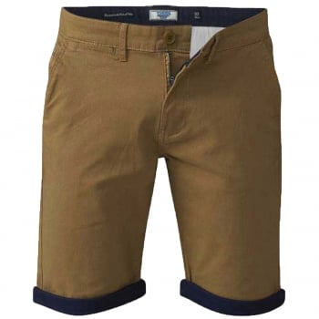 D555 Mens New D555 Roll Up Chino Summer Morgan Shorts Tobacco