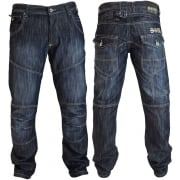 Mens New Jeans Crosshatch Newport Dark Washed Straight Leg Jeans