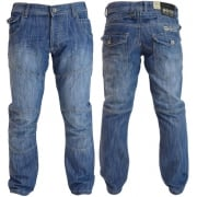 Mens New Jeans Crosshatch Newport Light Washed Straight Leg Jeans