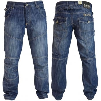 Crosshatch Mens New Jeans Crosshatch Newport Stone Washed Straight Leg Jeans