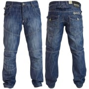 Mens New Jeans Crosshatch Newport Stone Washed Straight Leg Jeans