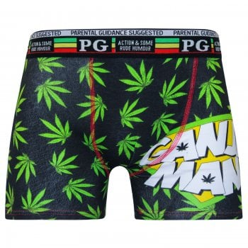 PG Mens PG Men's Ganja Man Cartoon Novelty Boxer Shorts Trunks Black