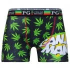 Mens PG Men's Ganja Man Cartoon Novelty Boxer Shorts Trunks Black