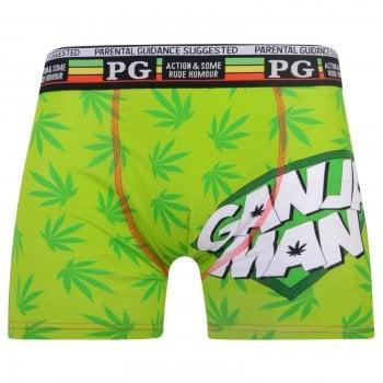 PG Mens PG Men's Ganja Man Cartoon Novelty Boxer Shorts Trunks Green