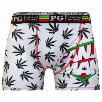 PG Mens PG Men's Ganja Man Cartoon Novelty Boxer Shorts Trunks White