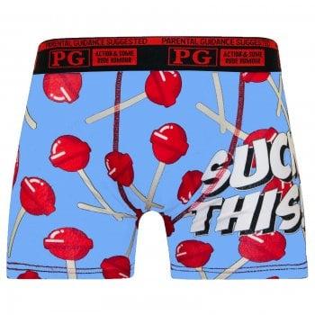 PG Mens PG Men's Suck This Cartoon Novelty Boxer Shorts Trunks Blue