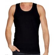 Mens Plain 3 Pack New 100% Cotton Vests Tank Tops Training Gym Black