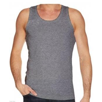 Mens Plain 3 Pack New 100% Cotton Vests Tank Tops Training Gym Grey