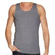 Mens Plain 3 Pack New 100% Cotton Vests Tank Tops Training Gym Grey