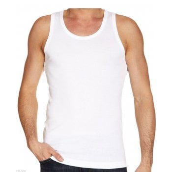 Mens Plain 3 Pack New 100% Cotton Vests Tank Tops Training Gym White