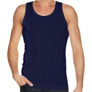 Mens Plain new 100% Cotton Vests Tank Tops Training Gym Navy