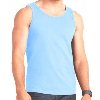 Mens Plain New Vests 100% Cotton Vests Tank Tops Training Gym Sky