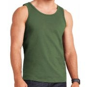 Mens Plain Vests New 100% Cotton Tank Tops Training Gym Khaki