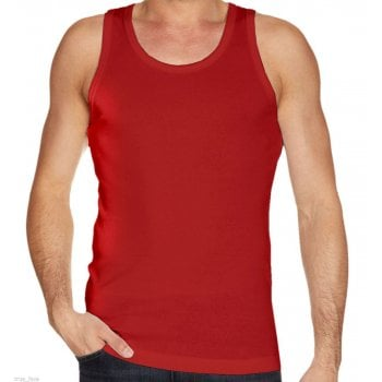 Mens Plain Vests New 100% Cotton Tank Tops Training Gym Red