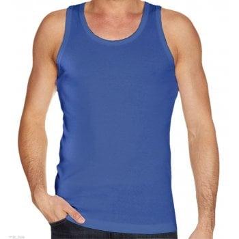 Mens Plain Vests New 100% Cotton Tank Tops Training Gym Royal Blue
