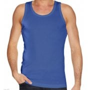 Mens Plain Vests New 100% Cotton Tank Tops Training Gym Royal Blue