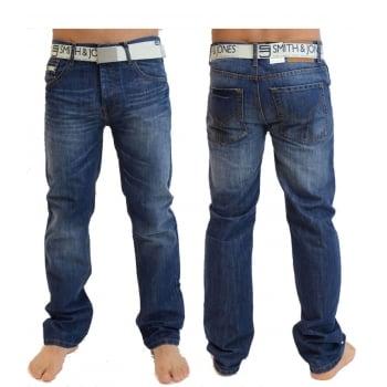 Smith & Jones Mens Smith & Jones New  Enrico Bootcut Leg Jeans Mid Stonewash