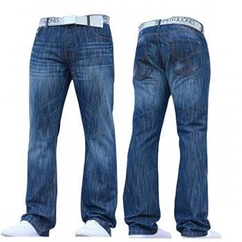 Smith & Jones Mens Smith & Jones New Zuccio Bootcut Leg Jeans Stonewash