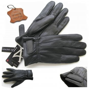 Mens Thinsulate New Touch Screen Real Leather Gloves Black