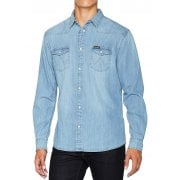 Mens Wrangler Authentic New Western Style Denim Shirt Light Indigo