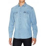 Mens Wrangler Authentic New Western Style Denim Shirt Light Indigo