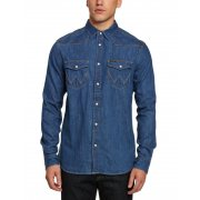 Mens Wrangler Authentic New Western Style Denim Shirt Mid Indigo