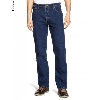 Wrangler Mens Wrangler Texas Stretch Regular Fit Authentic Jeans Dark Stonewash Blue