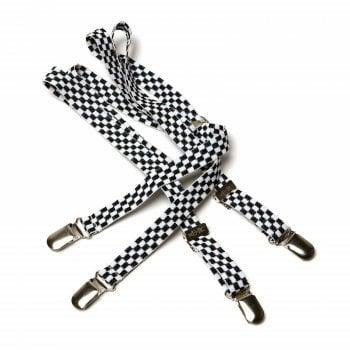 Merc London Black White Checker 1/2 14mm Thin Mens Punk Mod Braces