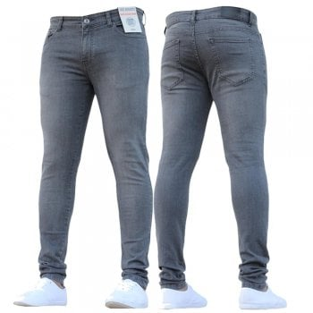 Enzo New Boys Kind Enzo Designer Stretch Skinny Slim Fit Grey Denim Jeans