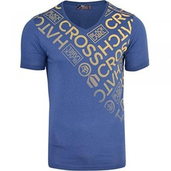 Crosshatch New Crosshatch Mens Bordan Branded Designer Casual V Neck T Shirt Denim Blue