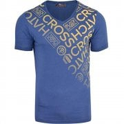 New Crosshatch Mens Bordan Branded Designer Casual V Neck T Shirt Denim Blue