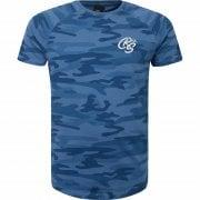 New Crosshatch Mens Denison Camo Army Print Casual T Shirt Blue