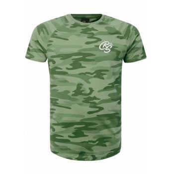 Crosshatch New Crosshatch Mens Denison Camo Army Print Casual T Shirt Green