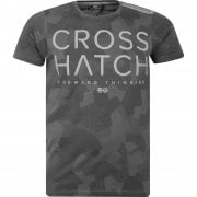 New Crosshatch Mens Kaplers Camo Army Print Casual T Shirt Charcoal